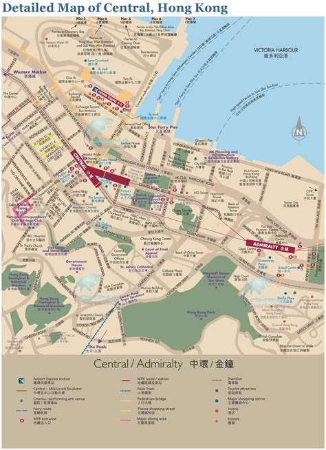 tourist map of central detailed map of central hong kong