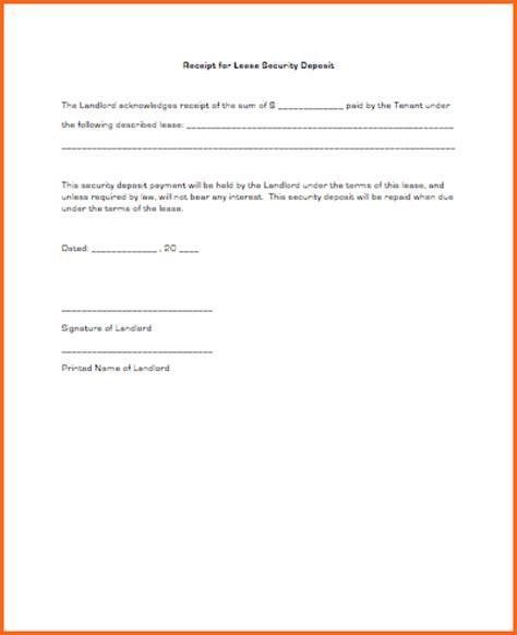 Deposit Receipt Template Word by 7 Security Deposit Receipt Form Budget Template Letter