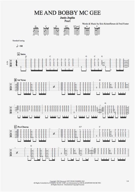 bobby mc gee  janis joplin full score guitar pro tab mysongbookcom