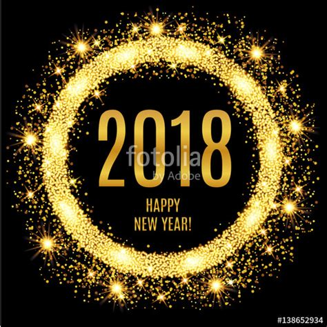glowing 2018 happy new year quot 2018 happy new year glowing gold background vector
