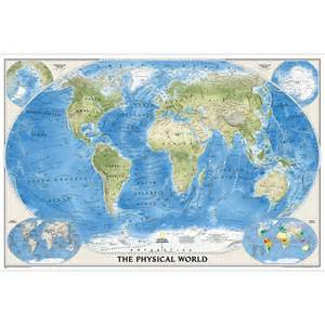 world physical wall map poster size national geographic