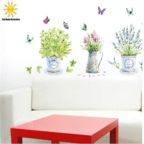 Flower Decor In Window Kitchen Diy Wall Stickers Home Decor Potted Flower Pot Butterfly