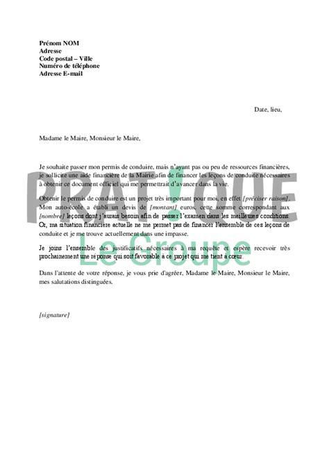 Exemple De Lettre De Demande De Financement Pour Un Projet lettre de demande de financement du permis de conduire 224