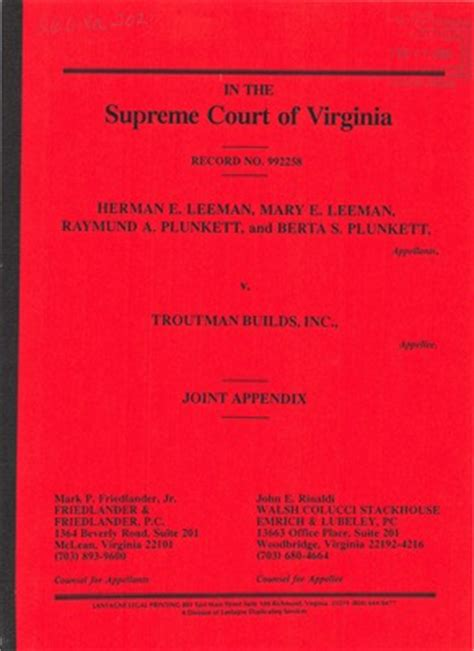 R I Court Records Virginia Supreme Court Records Volume 260 Virginia Supreme Court Records