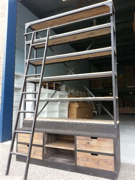 french industrial recycled vintage rustic bookcase