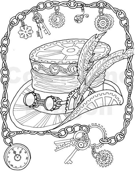 silly hat coloring page steunk coloring page top hat coloring page