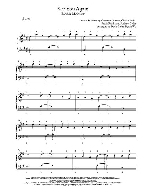 drum pattern for see you again see you again by wiz khalifa ft charlie puth piano sheet