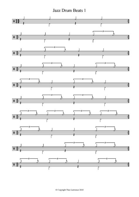 drum pattern worksheets easy drum sheet music for beginners snare drum part from