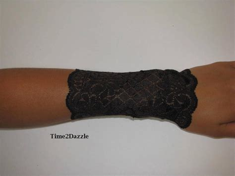 wrist tattoo cover bracelets lace wrist cuff brown stretch lace bracelet arm band
