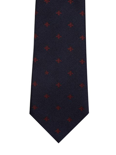 gucci micro bee jacquard silk tie in blue for lyst