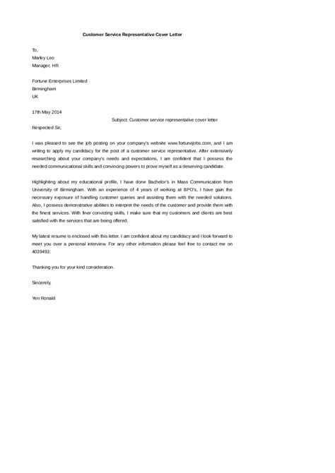customer service cover letter free customer service cover letter exles