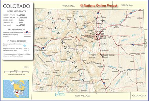 detailed map of colorado usa colorado map map of the world map