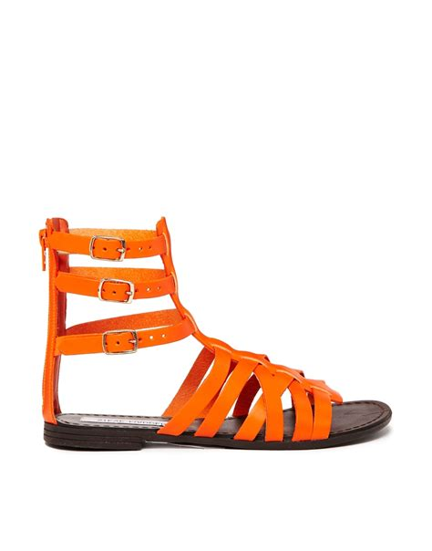 Steve Madden Oasis Orange Multi by Steve Madden Plato Multi Orange Gladiator Flat Sandals In Orange Lyst