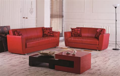 dallas couch dallas sofa bed in red leatherette w optional loveseat