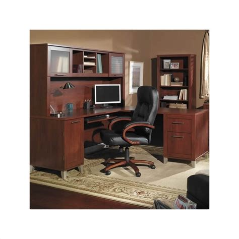 Bush Furniture Somerset L Shaped Wood Home Office Set Wood Home Office Furniture
