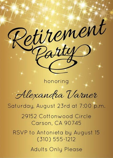 Retirement Party Invitation Gold Sparkly By Announceitfavors Retirement Invitation Template