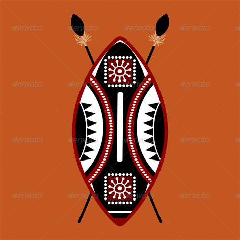 masai shield vector designs by ragerabbit graphicriver