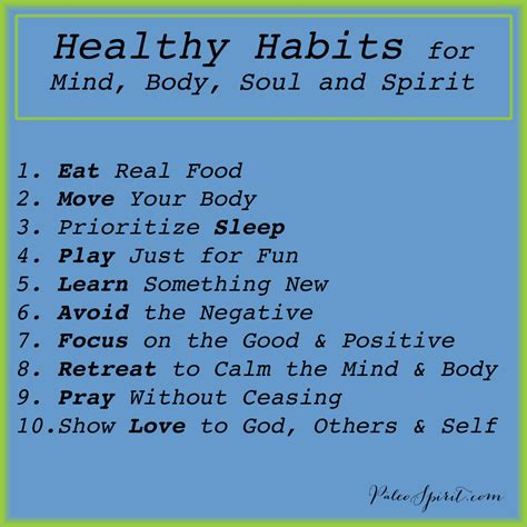 food for the spirit and the soul by robert neralich part 26 healthy habits for mind body soul and spirit words to