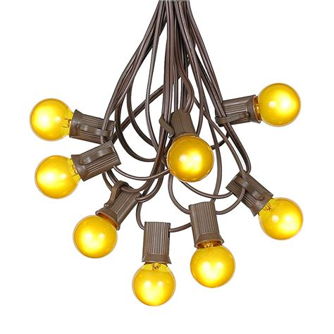 100 Yellow G30 Globe/Round Outdoor String Light Set on