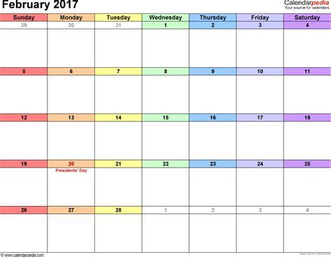 Feb Calendar February 2017 Calendars For Word Excel Pdf