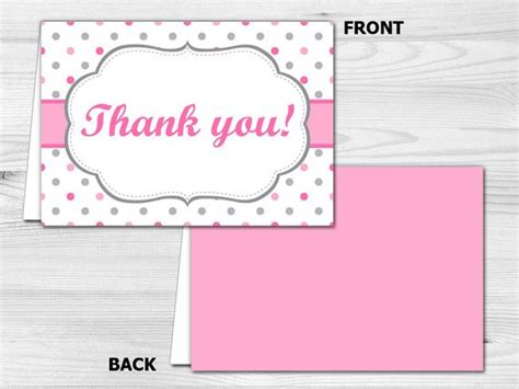 Thank You Card Printable Folded Thank You Card Pink Polka Folded Thank You Card Template