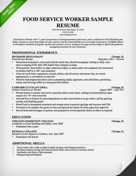 food service industry resume sle resume genius