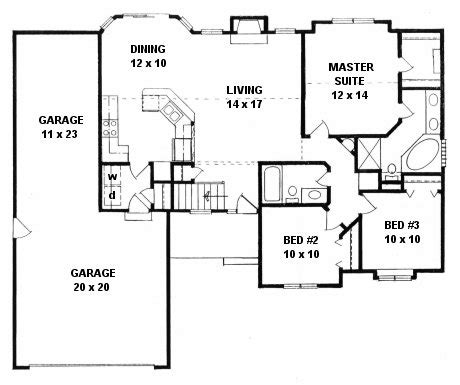 3 car tandem garage house plans plan 1221 3 bedroom ranch w tandem 3 car garage