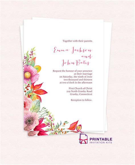 printable invitation kits wedding free autumn blooms wedding invitation wedding invitation