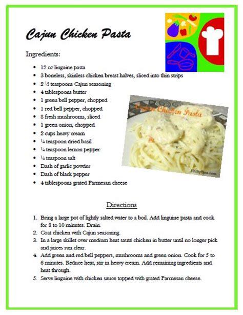 printable easy recipes easy cajun chicken pasta recipe