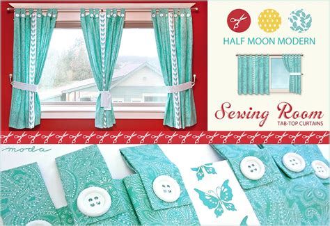 how to make tab top curtains with buttons moda s half moon modern sewing room tab top butterfly