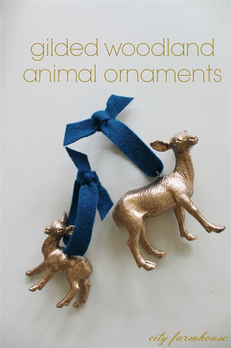 diy gilded woodland animal ornaments city farmhouse
