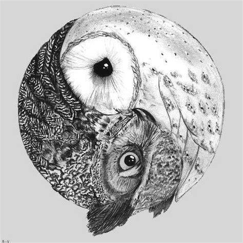 tattoo yin yang animal drawing draw animal yin yang owl tattoos pinterest