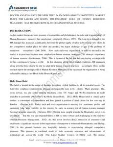 Report Format Sample Assignment Human Resource Management Assignment Sample