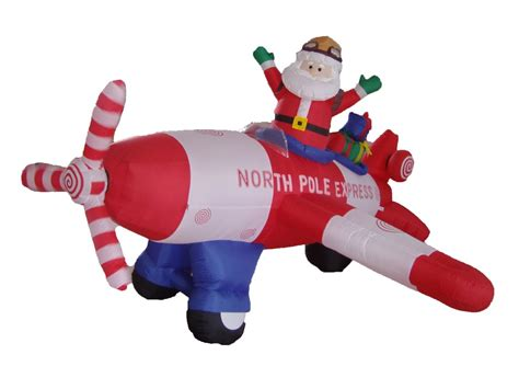 animated santa driving three posts animated santa claus driving airplane decoration reviews