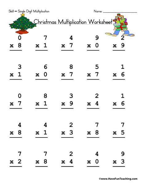 free printable christmas division worksheets christmas single digit multiplication worksheet have fun