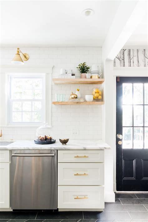 A Stunning Marble Kitchen with Gray Herringbone Floors