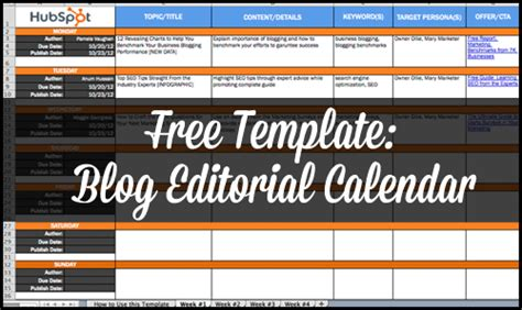free template blog editorial calendar
