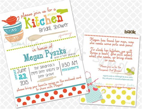 bridal shower recipe invitations pered chef kitchen recipe bridal shower invitation bridal