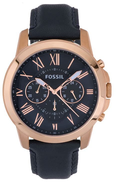 Fossil Grant Navy by Fossil S Grant Navy Navy Leather Fs4835