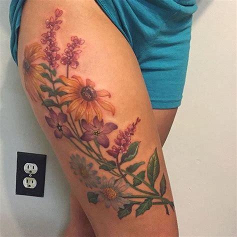 tattoo flower ross wild flower thigh tattoo by joshua ross artronin9 tattoo