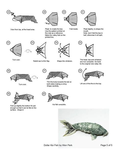 making of origami koi koi fish diagram 5 of 5 money origami dollar bill art