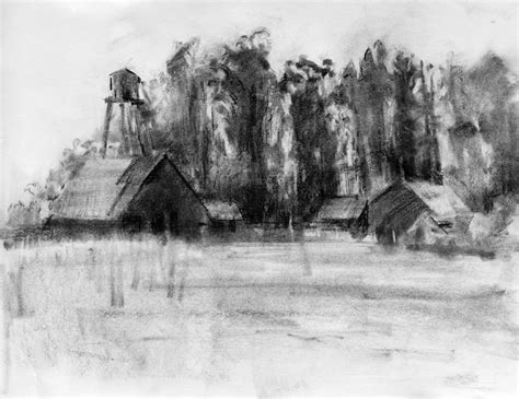Landscape Drawing The Loop Charcoal Drawing A Logical Method