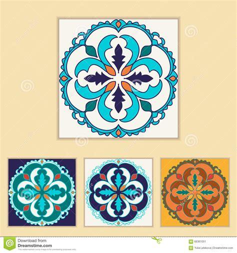 design elements tile vector portuguese tile design in four different color