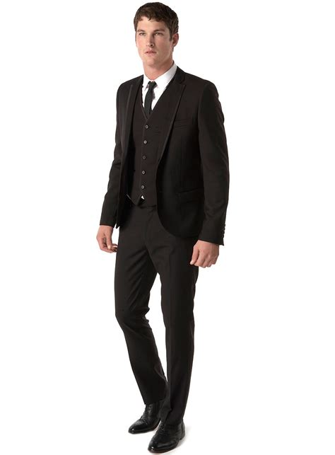 all black suit with white tie or black suit white shirt