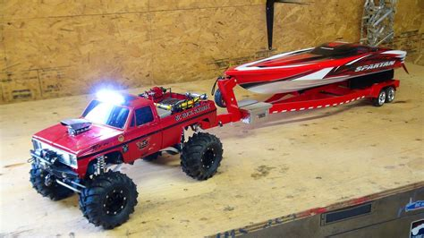 rc boats spartan rc adventures beast 4x4 with a cormier boat trailer