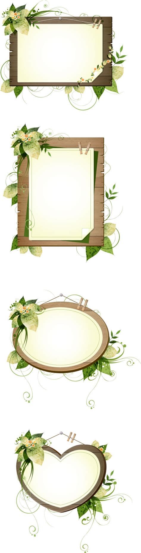plant decorative wood frame vector vector frames borders free download
