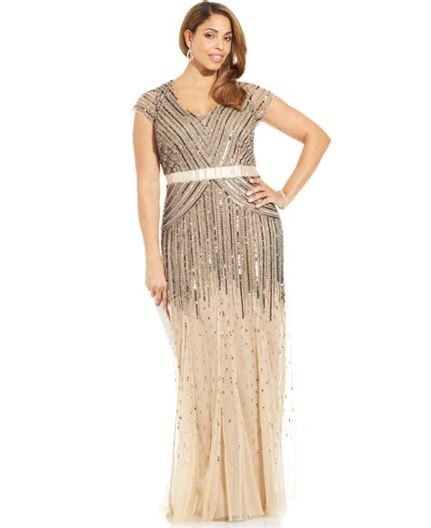 papell plus size cap sleeve beaded sequined gown