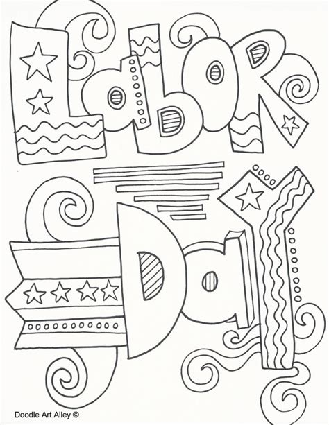 labor day coloring pages doodle art alley