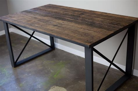 rustic industrial desk buy a hand made reclaimed wood dining table desk