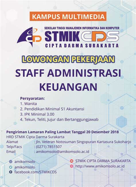 lowongan pekerjaan staff administrasi keuangan stmik